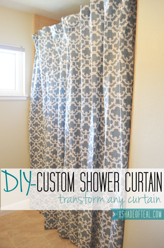 making an extra long shower curtain from any curtain a shade of teal