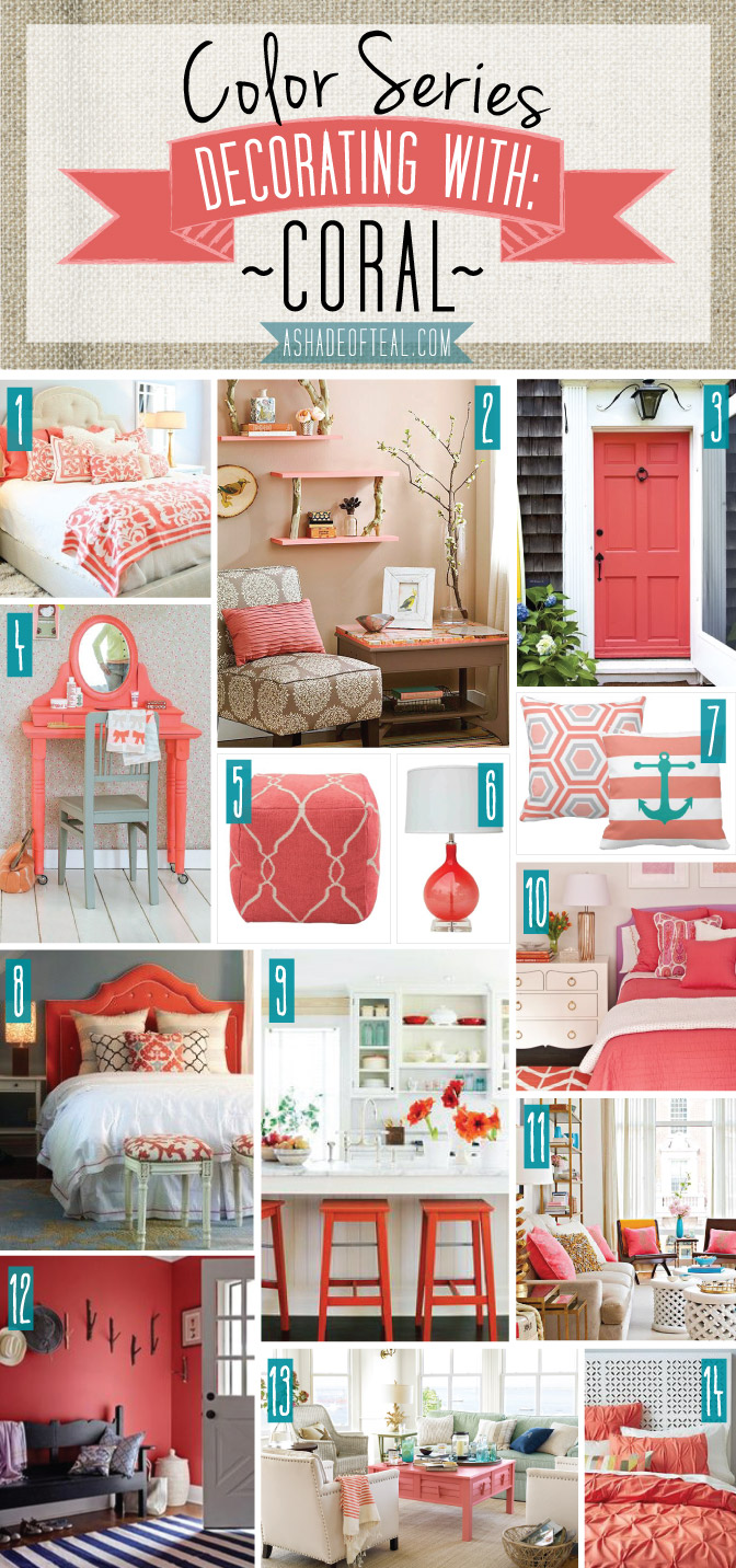 Color series decorating with coral for Teal decorations for the home