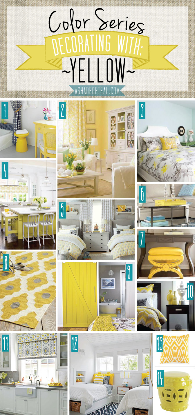 Color Series Decorating With Yellow, Teal And Yellow Bathroom Accessories