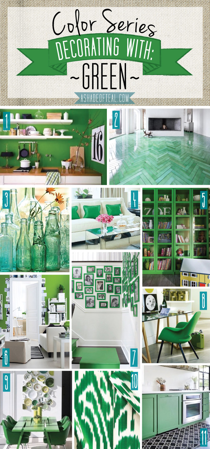 Color series decorating with green for Green decorations for home