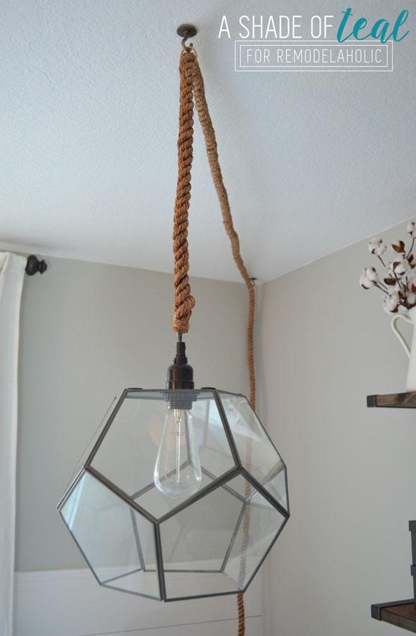 Remodelaholic terrarium to geometric pendant light - Diy ceiling light fixtures ...
