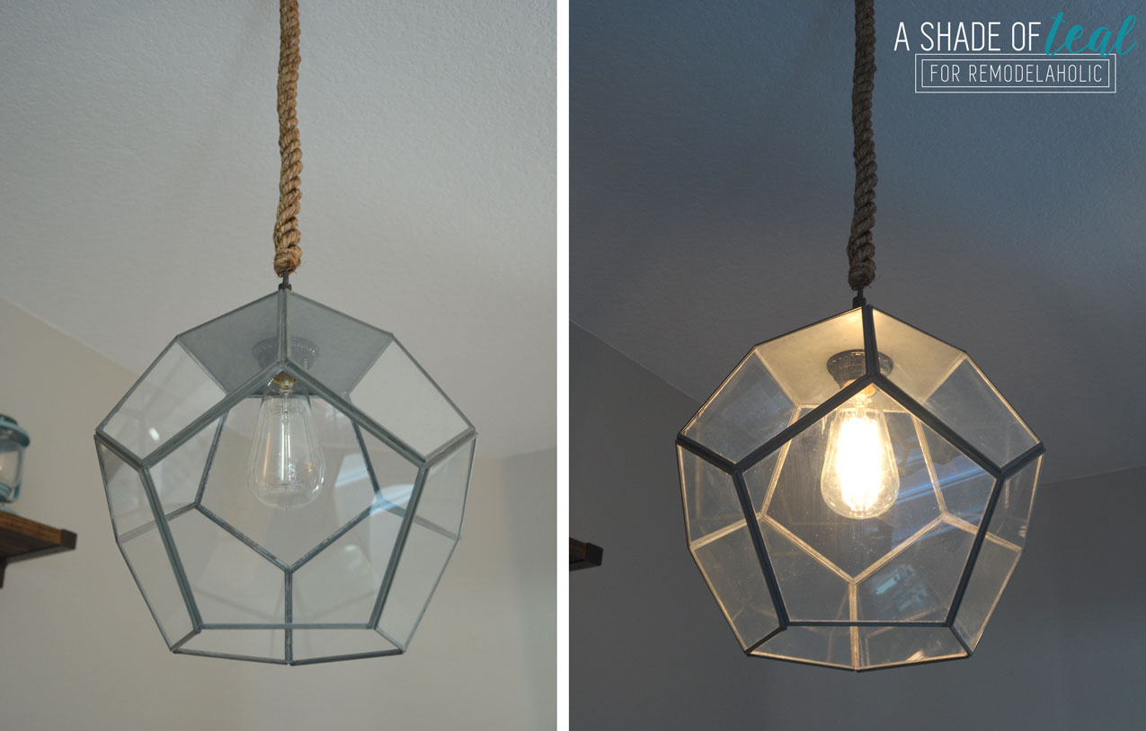 How To Make A Light Fixture From A Terrarium By A Shade Of Teal Featured On