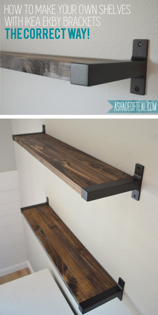 Rustic diy bookshelf with ikea ekby brackets a shade of teal for Mountain shelf diy