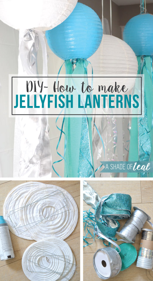 Diy how to make jelly fish lanterns a shade of teal for How to make paper lanterns easy