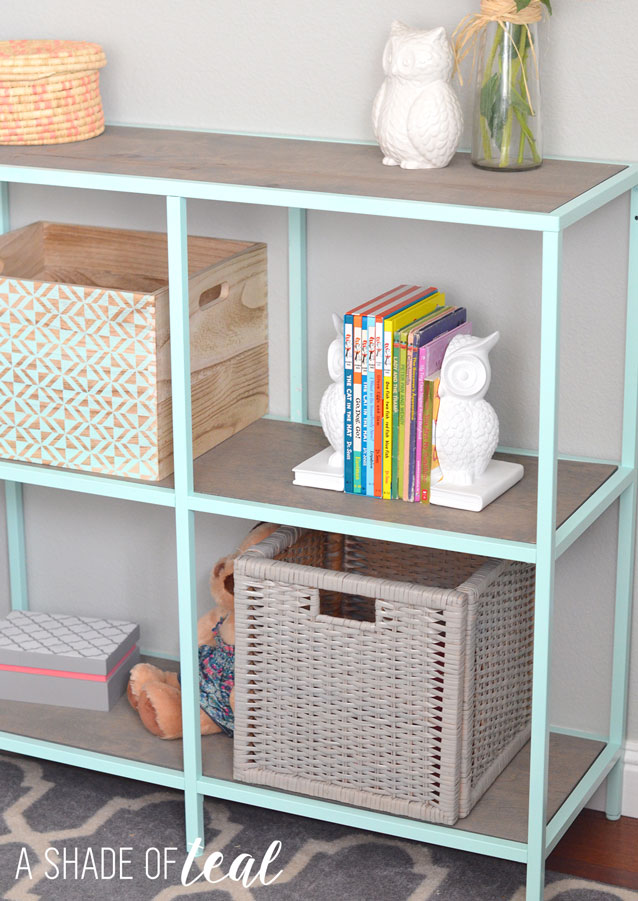 Big Girl Room, IKEA Vittsjo hack- Mint Bookshelf : A Shade Of Teal