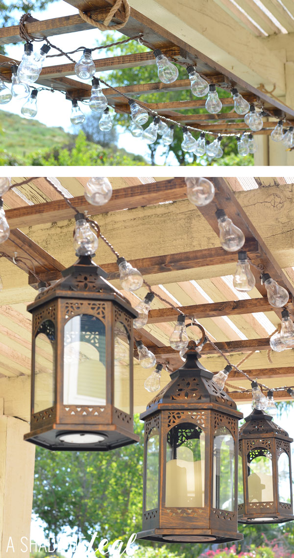 String Lights Big Lots : DIY // Ladder Light Centerpiece & Outdoor Makeover with Big Lots A Shade Of Teal