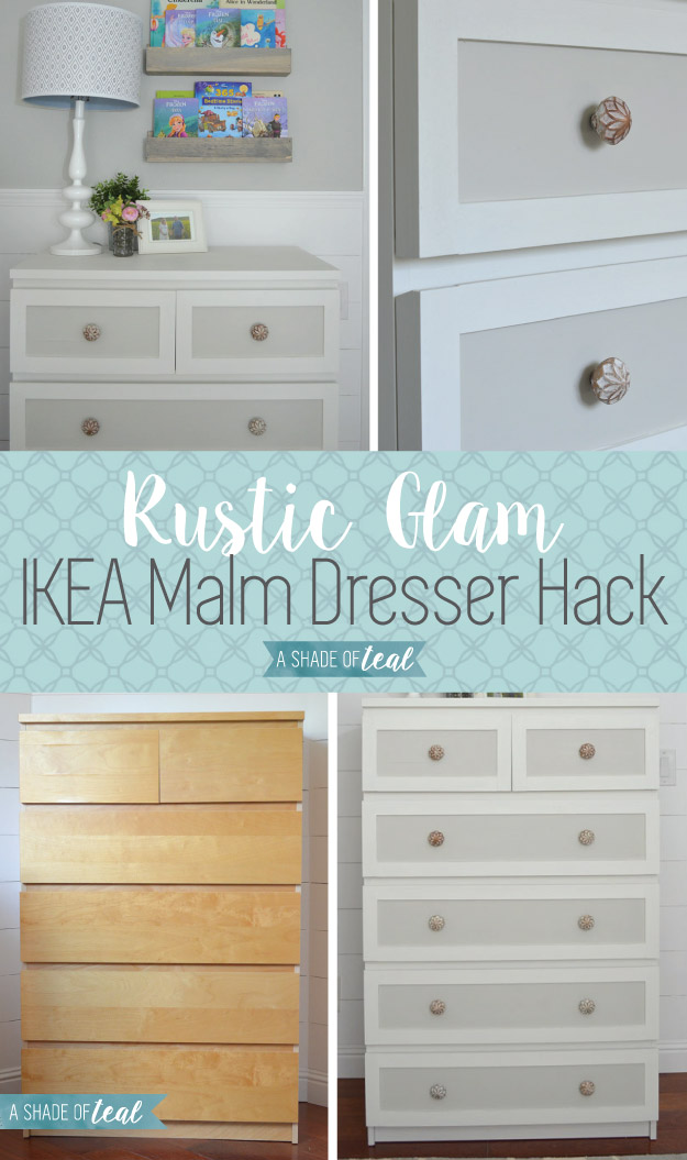 ikea malm dresser hack for a rustic glam nursery a shade of teal. Black Bedroom Furniture Sets. Home Design Ideas