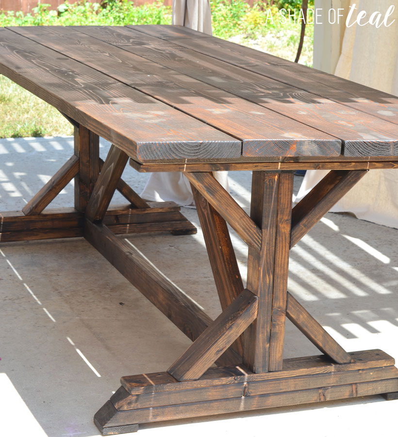 Building a Outdoor Rustic Farmhouse Table A Shade Of Teal : Rustic Farmhouse Table4 from ashadeofteal.com size 820 x 901 jpeg 168kB
