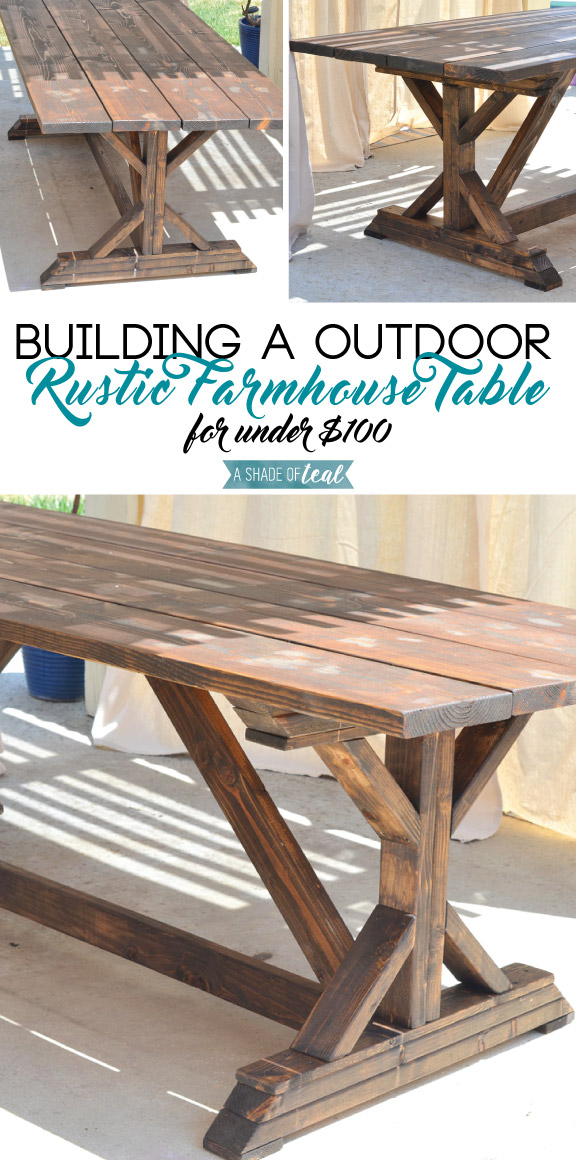 Building a outdoor rustic farmhouse table a shade of teal for Building a farmhouse