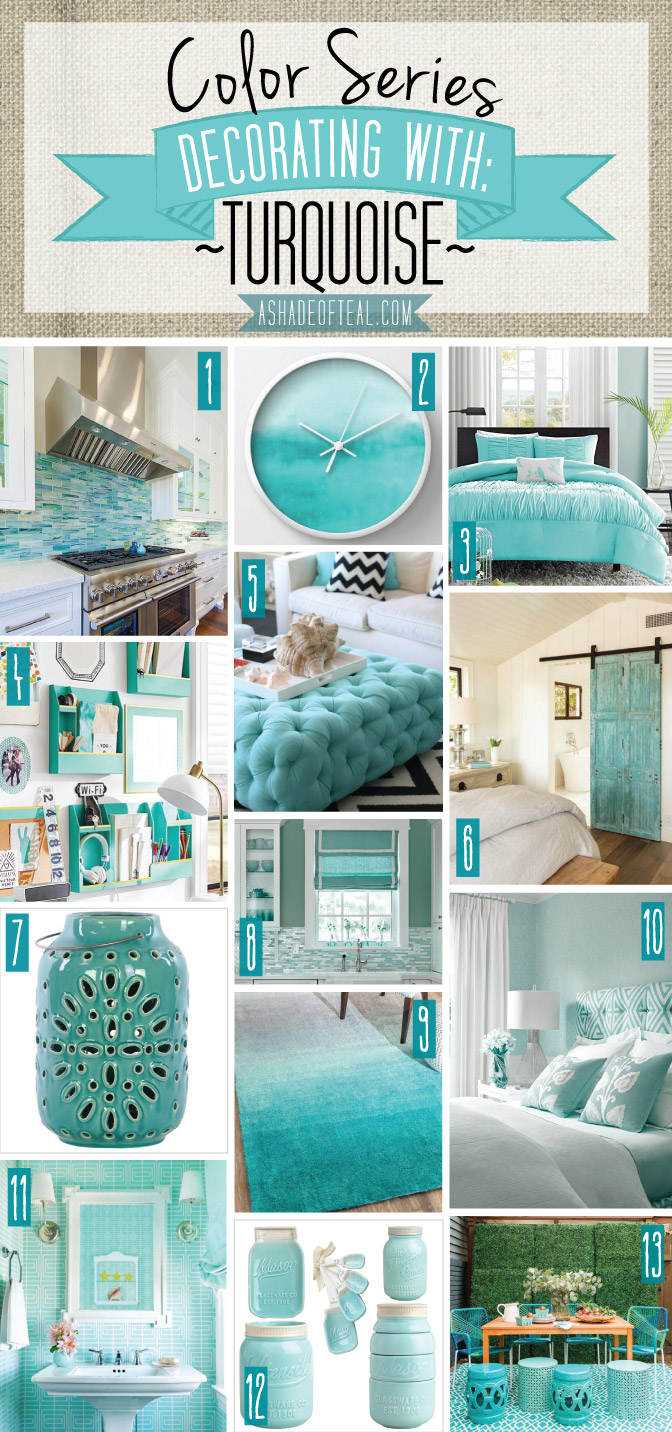 Color series decorating with a shade of teal for Aqua colored bathroom accessories