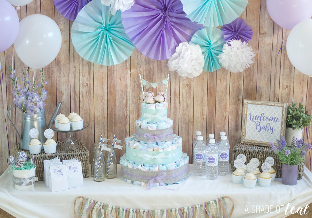 rustic glam baby shower plus make a diaper cake a shade of teal