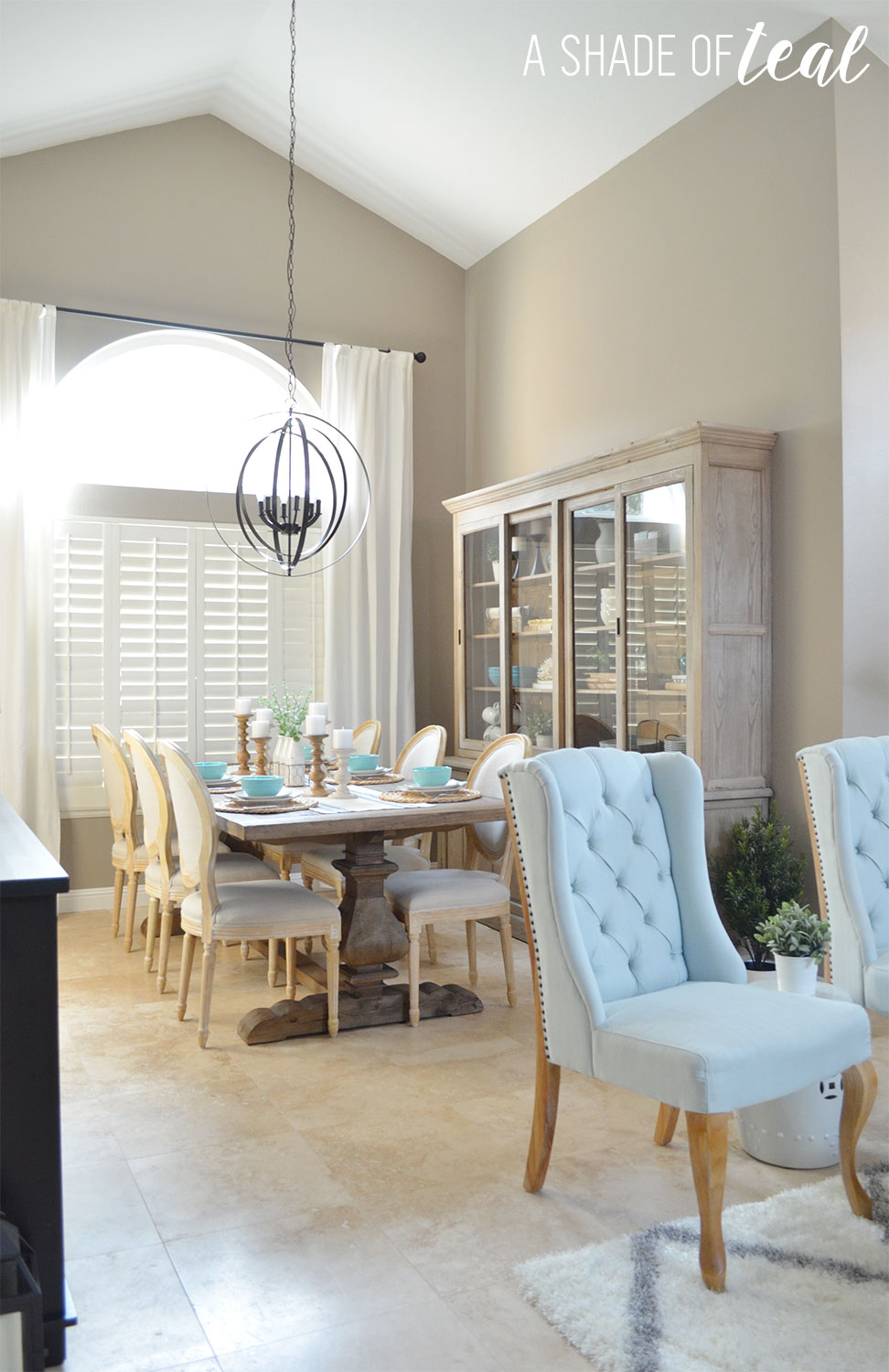 One room challenge a shade of teal for Modern rustic dining room
