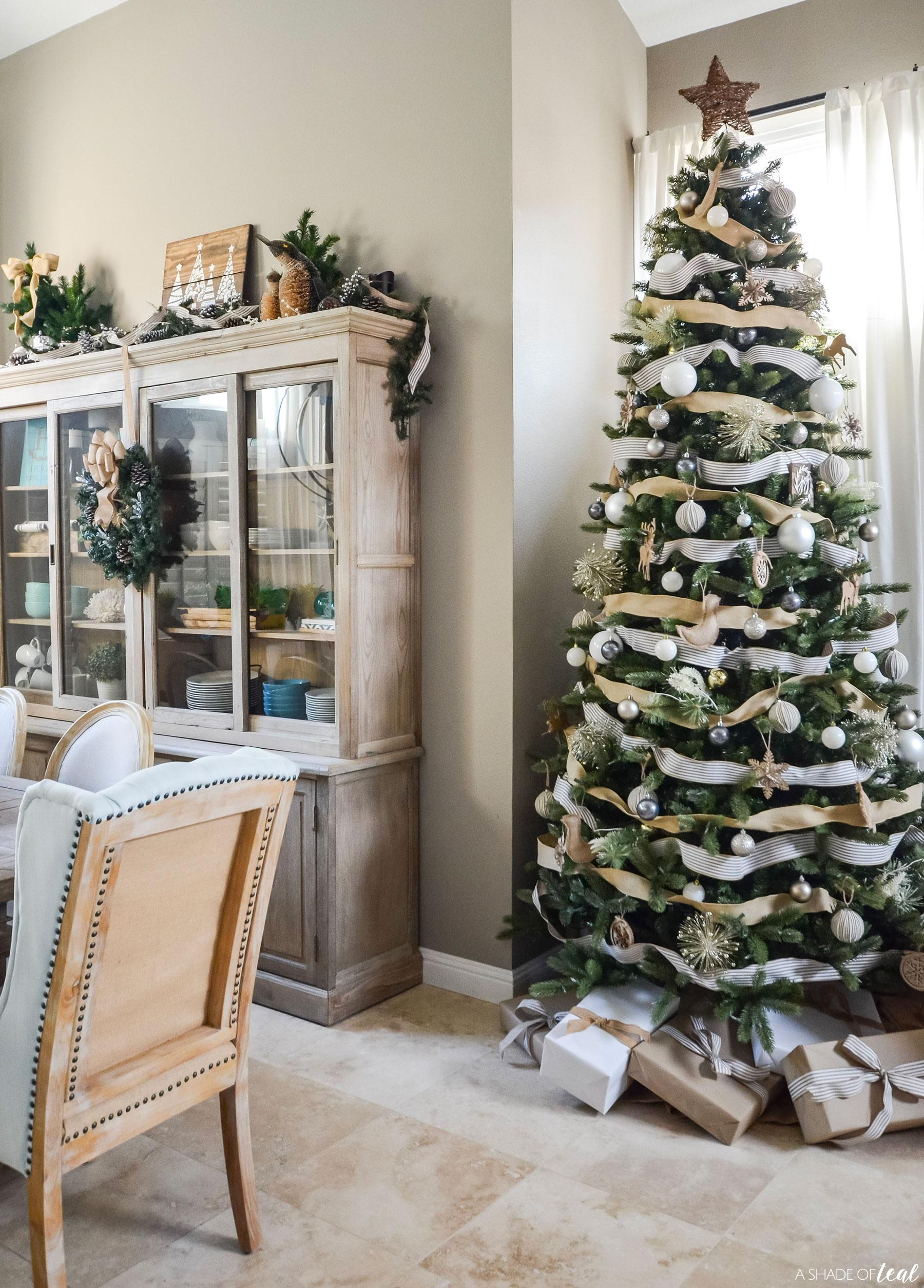 Neutral White Burlap Christmas Decor Tree