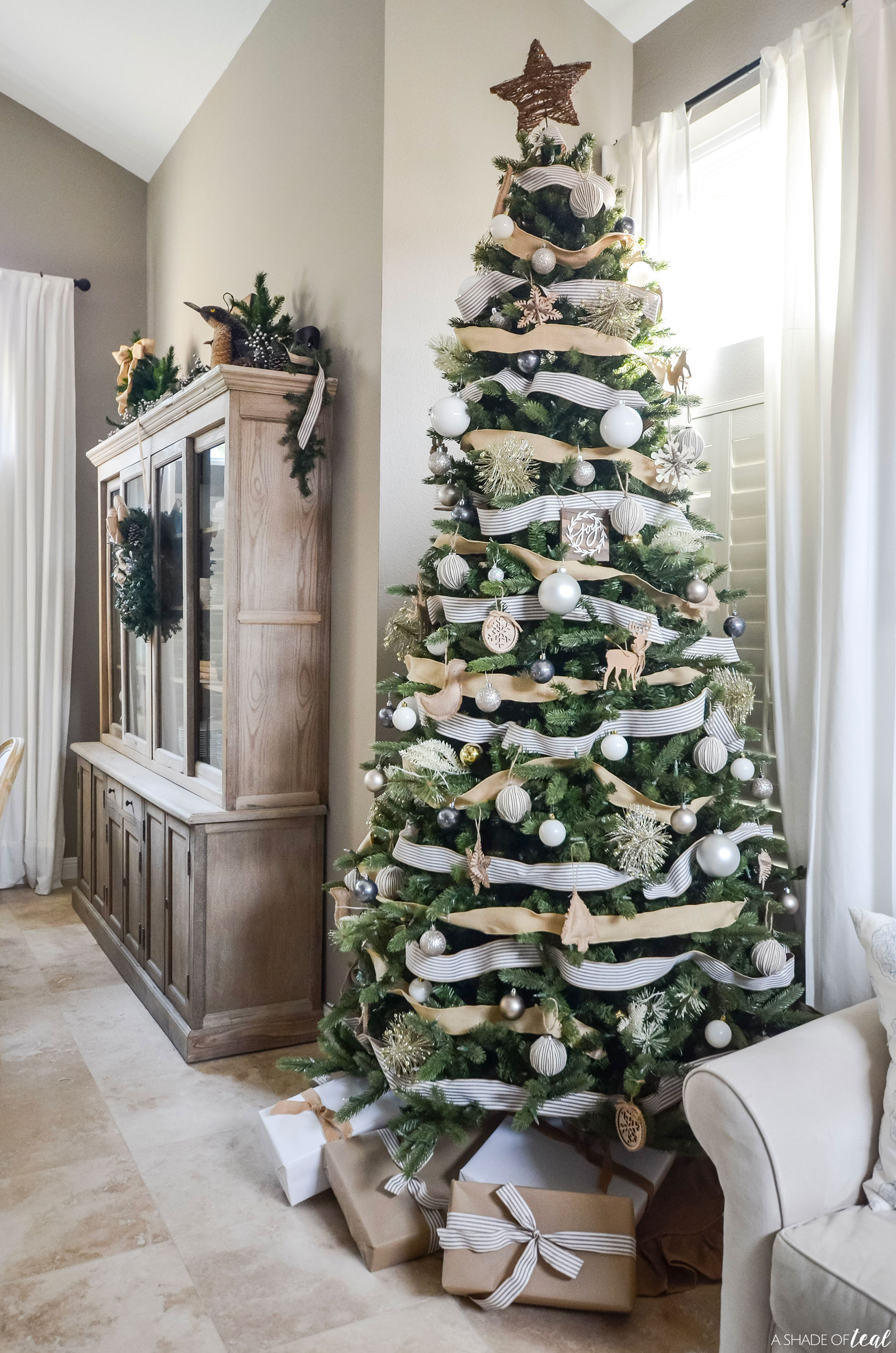 Neutral White Burlap Christmas Decor Tree