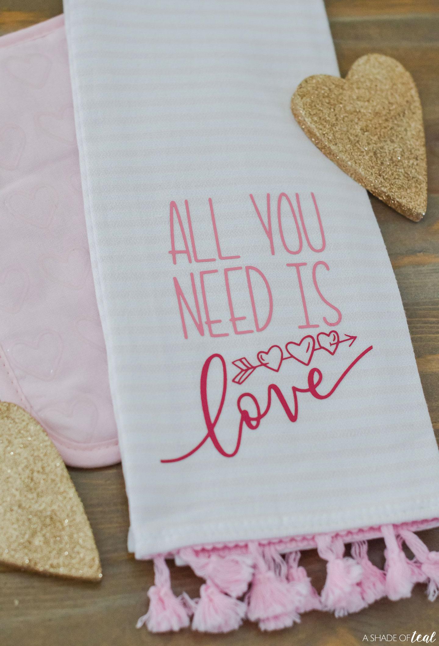 How To Use Cricut Iron On Vinyl Valentine S Day Kitchen Towel